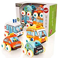 Tippi Pull Back Soft Vehicle Toy Set - Baby or Toddler Play Cars - Suitable From 12 Months + - Pullback or Push Along