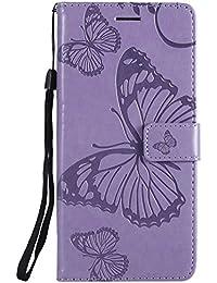DENDICO Galaxy J8 Hülle, PU Leder Handyhülle mit Standfunktion und Kartenfach, Schmetterling Muster Magnetverschluss Flip Brieftasche Etui TPU Schutzhülle für Samsung Galaxy J8 - Violet