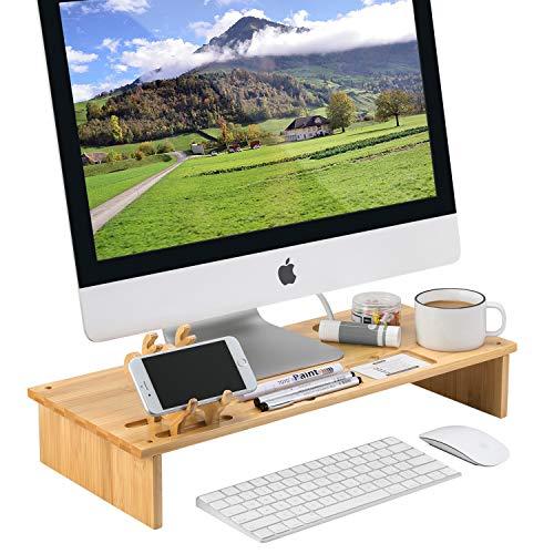 MaidMAX Monitorständer Bildschirmständer aus Bambus, Monitor Erhöhung für Laptop PC iPad TV, Bildschirmerhöhung mit Schreibtisch Organizer,Schreibtischaufsatz- Buchefarben 54 x 23 x 9 cm
