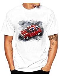 LHWY Los Hombres de La Manera del Cráneo de La Impresión Camiseta Camisa Manga Corta Camiseta Blusa Playa de Verano