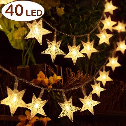 HOMVAN Led Lichterkette Batteriebetrieben Sterne Lichterkette 5 Meter 40 LEDs Innen- und Außen Lichterketten ideal für Weihnachten, Halloween, Hochzeit, Zimmer Dekoration, Party, Garten Warmweiß