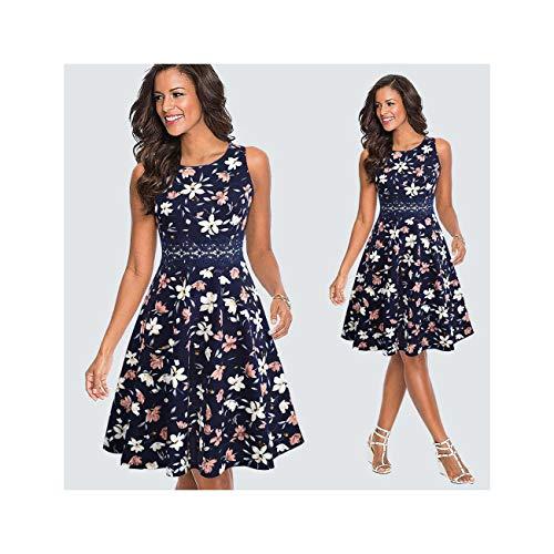 Women Vintage Casual Round Neck A-line Dress Summer Elegant Flower Lace Patchwork Sleeveless Tunic Party Swing Dress HA079 Blue XXL (J Crew Denim-kleid)
