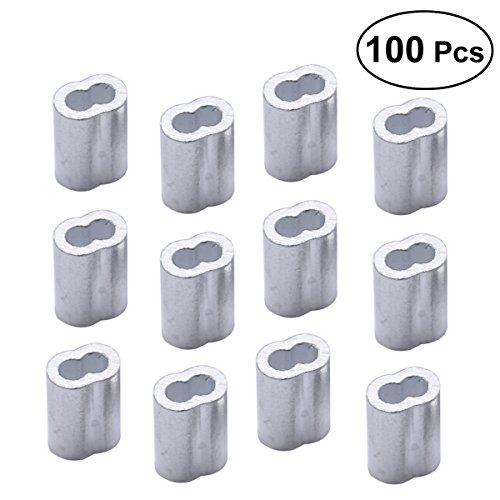 UKCOCO 100 STÜCKE Drahtseilschellen, 8-förmigen M2 Aluminium Ärmel Clip für Drahtseil Stahldraht Crimps Draht Management Zubehör (Silber) -
