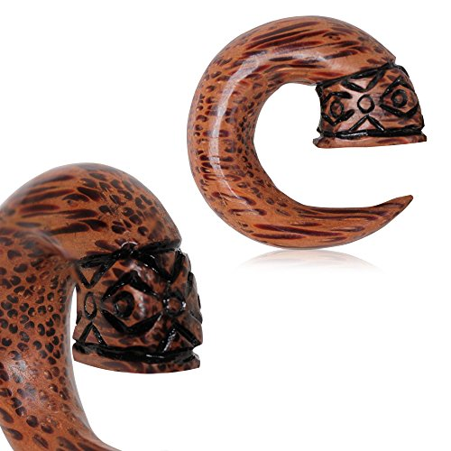Freund Partner Kostüme (6mm Bio Kokosnuss Holz Tribal Design Taper Ohrstrecker)