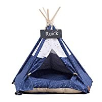 Ruick Pet Tent for Dogs Puppy Cat Bed Navy & White Pattern Canvas Dog Cute House Pet Teepee (L,With Cushion)