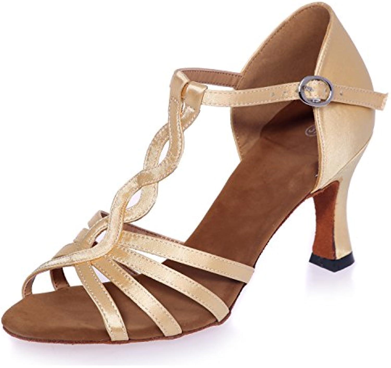 Elobaby Scarpe da Ballo da Donna Samba Standard di Raso Moderno Moderno   7,5 Cm con Fibbia con Tacco | benevento  | Uomo/Donne Scarpa