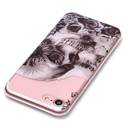 Cover iPhone 7/iPhone 8, GrandEver Morbida Trasparente Ultra Slim Gel Silicone TPU Custodia Protettiva Back Shell Case per iPhone 7/iPhone 8 - Farfalla Cranio