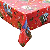 "Homcomoda Christmas Tablecloth Red Plastic Santa & Snowman Wipe Clean PVC Vinyl Table covers Rectangular Dining Table Cloth for Home Hotel Cafe Restaurant 140cm x 180cm (55"" x 71"")"