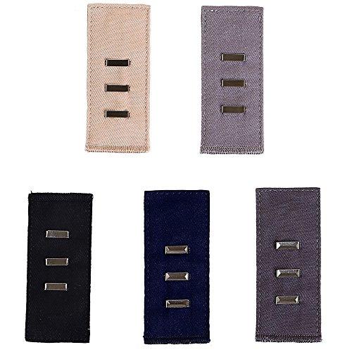 hichange Hosen Taille Knopf Taille Extender, verstellbar Button Haken Extender für Hosen in 5 Farben, Five Hooks + Needles (Taille-khaki Verstellbare)