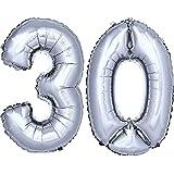 DEKOREX® Globo de la hoja 80 cm Balón de Helio Número de plata brillante argentado Decoración del globo del cumpleaños No 30