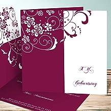 Einladungskarten Zum 80 Geburtstag Selber Machen, Blütenkarte 5 Karten,  Quadratische Klappkarte 145x145 Inkl.