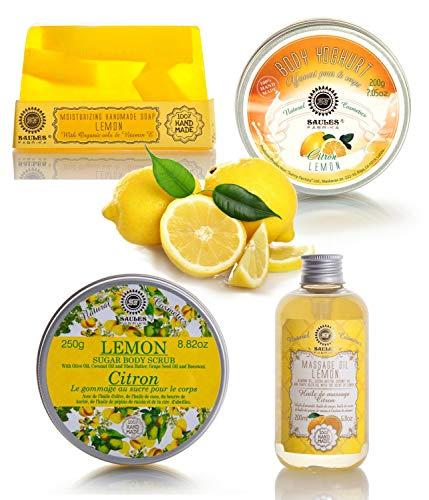 Saules Fabrika 4er Geschenk-Set handmade Körperpeeling Massage-Öl Bodylotion Seife 4teilig (Zitrone) - Meersalz-fußpeeling