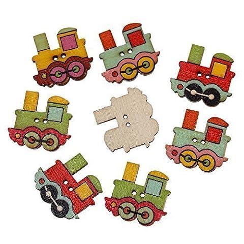 The Bead and Button Box Lot de 20boutons en bois à coudre Motif train 25x 22mm - -