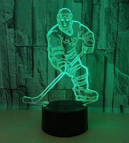 QiXian Nachtlicht Wandlampe Led Lampe Hockey Player 3D Lampe Led 7 Farbe Fernbedienung Licht Acryl Stereo Vision Tischlampen Deco Enfant Chambre Schreibtischlampe für Küche Schlafzimmer Wohnzimmer