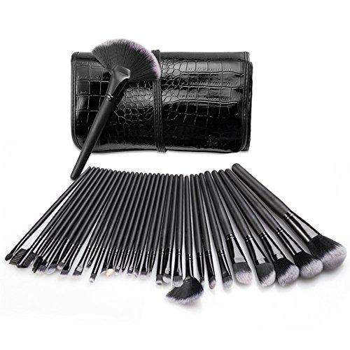 Bulary Maquillage Lot 32PCS Brush Set Beauté Pinceaux de Maquillage Cosmétiques Professionnel Kit avec Trousse Noir