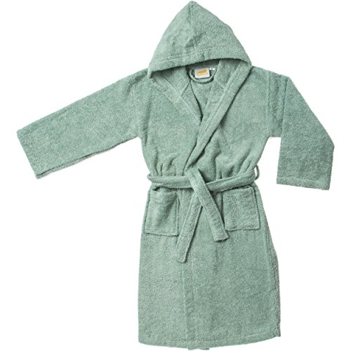 Superior Egyptian Collection Hooded Terry Bath Robe for Kids, Large, Sage by Superior -