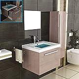 Badmöbel Komplettset mit Waschbecken aus Mineralguss, Unterschrank und Spiegel mit Softclose-Funktion/braun