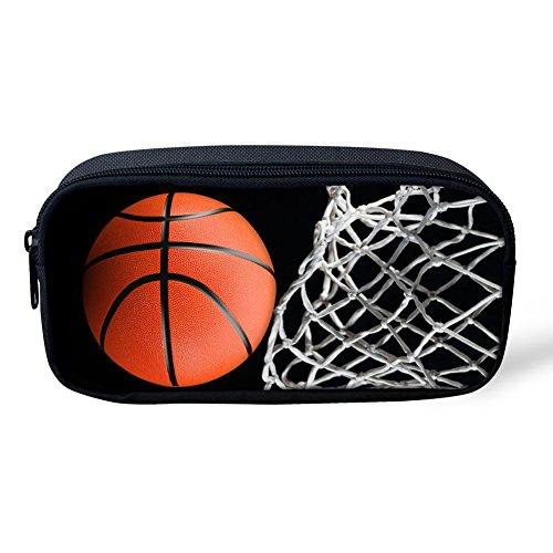 coloranimal Jungen Schule Bleistift Tasche coolen Fußball Muster Kids Stationery Pen Fall Office Supplies 8.66 inch(L) x1.77 inch(W) x4.33 inch(H) basketball pattern-2. (Mechanische Niedlich Bleistifte)