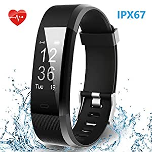 HolyHigh IPX67 Waterproof Smart Band with Heart Rate Monitor Sport Activity Tracker Call SMS Notifications for Men and Women (Black)