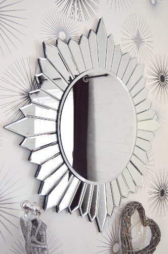 MirrorOutlet Espejo de Pared de Cristal Veneciano, diseño Moderno y Redondo, 80 cm