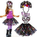 Tacobear Disfraz de Halloween para niños Dia de Los Muertos niña Disfraz Mexicano Máscara de cráneo Disfraz de Halloween Chica Ropa de Miedo para Fiesta de Carnaval de Navidad de Cosplay de Halloween