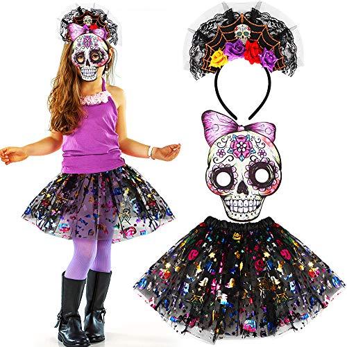 Tacobear Halloween Kostüm Kinder inklusive Totenkopf Maske Zuckerschädel Stirnhand und Tüllrock Tag Der Toten Kostüm Damen Kinder Mädchen (Typ 2)