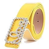 Swallowuk Frauen-Wölbungsgurt, LOVE-Diamant-Mosaik, Süßigkeitfarbe PU-Gurt (gelb)