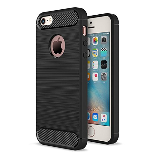 Xelcoy® Rugged Armour Shockproof Soft TPU Carbon Fibre Brushed Metallic Texture Case Cover for iPhone 5 5s - Carbon Black  available at amazon for Rs.299