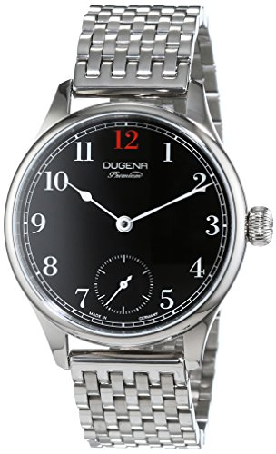 Dugena Men's EPSILON 1 Hand Driven Watch with Black Dial Analogue Display and Silver Stainless Steel Bracelet
