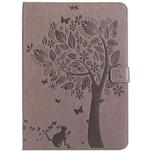 BoxTii Coque iPad Air 2, Etui en Cuir de Première Qualité, [Multi Angles Folio Stand] Housse avec Les Fentes de Carte pour Apple iPad Air 2 (Gris)