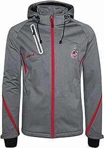 Erima 1. FC Köln Fußball Softshelljacke Kinder Jacke mit Kapuze Sportjacke grau Größe 128