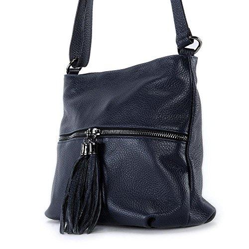 Oh My Bag–Borsa a mano tracolla in pelle donna–modello London NUOVA COLLEZIONE Blu scuro