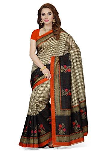 ISHIN Bhagalpuri Silk Beige & Black Printed Women's Saree  available at amazon for Rs.499