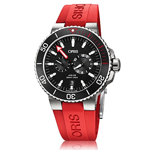 Oris Aquis Men's Regulateur Titanium Automatic Black Dial Additional Red Strap Set Watch - Model: 01 749 7734 7154-Set