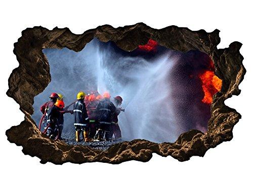 3D Wandtattoo Feuerwehr löscht Feuer Flammen Bild selbstklebend Wandbild sticker Wohnzimmer Wand Aufkleber 11H931, Wandbild Größe F:ca. 140cmx82cm