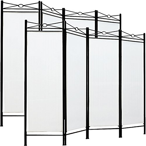 Deuba 2X Paravent Raumteiler weiß - Sichtschutz Trennwand Spanische Wand 4tlg