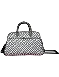 World Traveler World Traveler 21-inch Rolling Duffel Bag - Greek Key H Grey White Duffel Bag