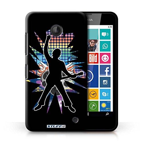 Kobalt® Imprimé Etui / Coque pour Nokia Lumia 635 / Saut Blanc conception / Série Rock Star Pose Windmill Noir