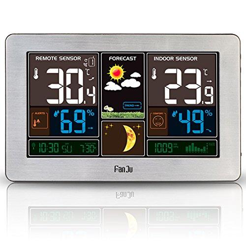 FanJu FJ3378 Funkwetterstation mit USB-Ladegeräte / Außensensor Funk / Uhr / Innen-/Außentemperatur und Luftfeuchtigkeit / Mondphase