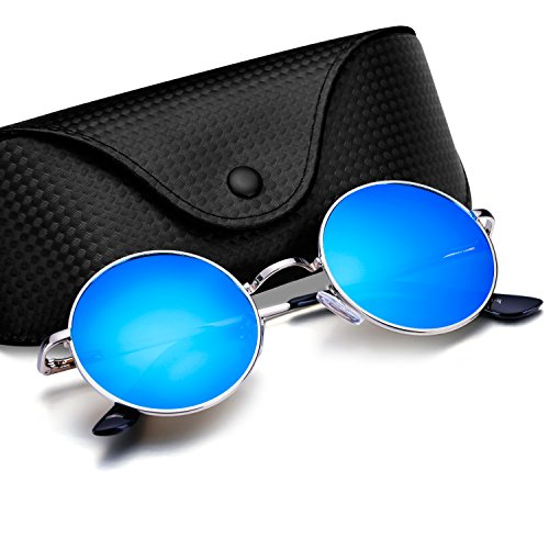 Menton Ezil Runde Retro Lennon Sonnenbrille Vintage Polarisierte Linsen Metall Gestell Rundbrille Hippi Brille Outdoor-Brille für Frauen und Männer (Hellblau)