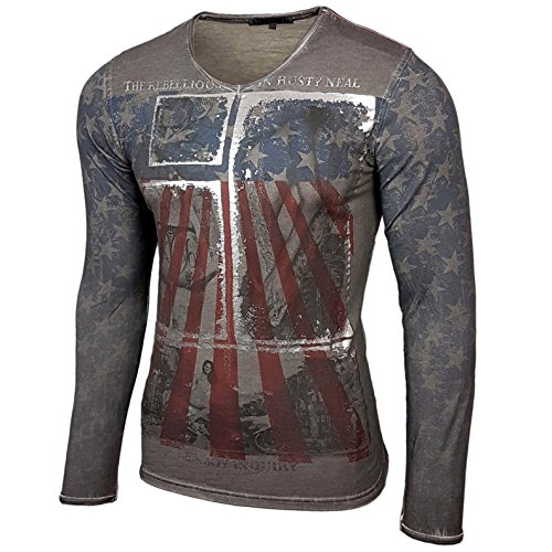 Rusty Neal Herren Langarm Longsleeve T-Shirt Sweatshirt Pullover R-10132, Farbe:Anthrazit;Größe:S