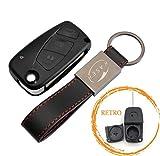 Schlüssel Gehäuse Fernbedienung für FIAT 3 Tasten Autoschlüssel Funkschlüssel Punto Panda Ducato Ulysse (with Battery Place Black) +Leder Schlüsselanhänger KASER
