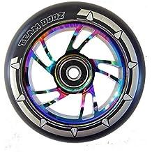 1x equipo Dogz núcleo de aleación de 110mm negro Swirl y negro sintética Kids Stunt Scooter sola rueda de repuesto para MGP, Blunt, grano, Slamm Scooters (Rainbow Core)...