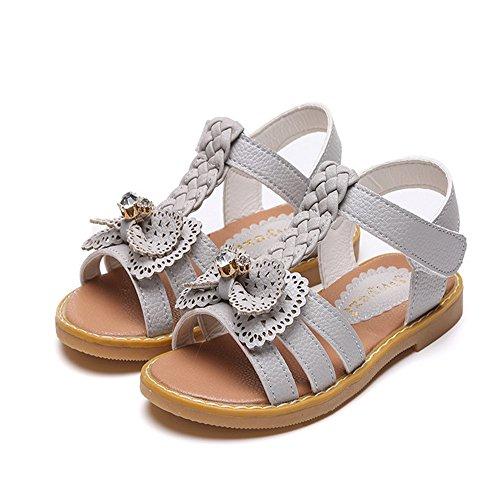 ZGSX 2017 scarpe primavera e l'estate di arco di colore solido sandali sandali Velcro ragazze Gray