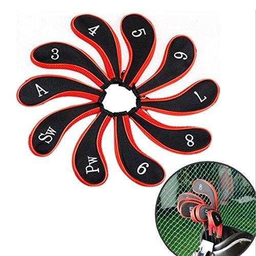 MIFXIN 10Stück Golf Club Eisen Schutz Set Golf Club Head Covers mit Langem Hals Reißverschluss, Match Alle Marken Titleist, Nike, Taylormade, Callaway, Ping, Cobra
