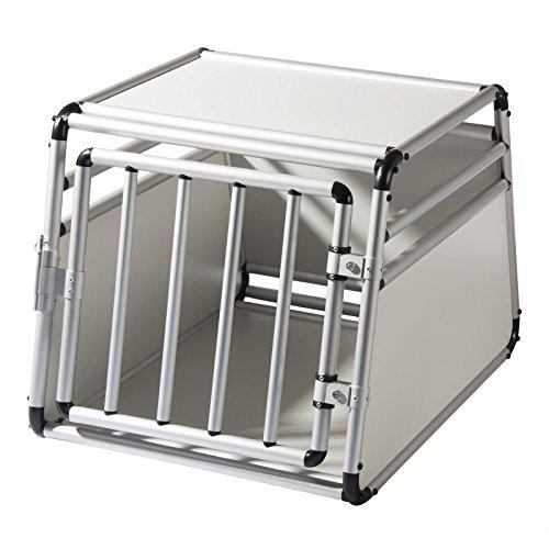 EUGAD Alu Hundetransportbox Hundebox Hundekäfig Autobox Reisebox Box 1 Türig 65 * 90 * 69 cm 0058HT