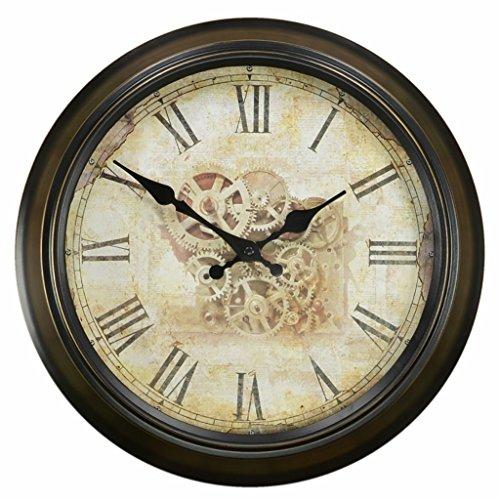Bonne action Horloge murale Horloge nordique nostalgique Horloge murale moderne Pendaison Mute Quartz Horloge en métal ronde ( Couleur : 14 inches/35.5cm )