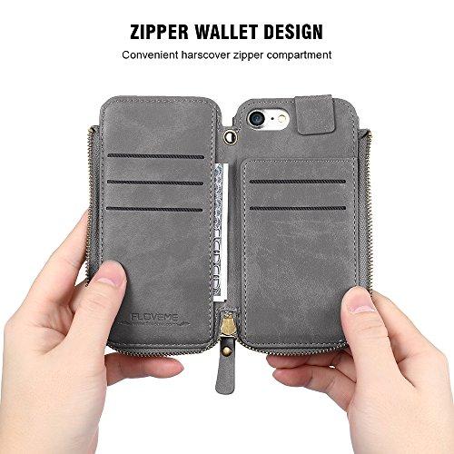 Phone Case & Hülle für iPhone 6 & 6 s Crazy Horse Textur Reißverschluss horizontale Flip schützende Ledertasche mit Kartensteckplätzen & Brieftasche & Lanyard ( Color : Red ) Brown