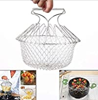 G One Chef Basket 12 in 1 Kitchen Tool for Cook, Deep Fry, Boiling Solid Steel Delux