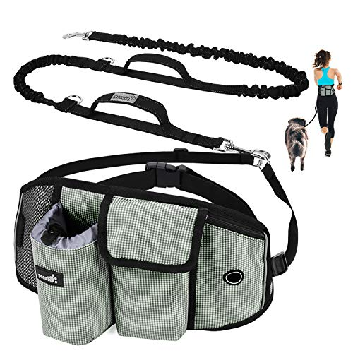 Pecute Joggingleine für Kleine Hunde, Jogging Hundeleine für große und mittelgroße Hunde, Elastische und reflektierende Laufleine, freihändige Leine mit Gürteltasche(Grau 1)